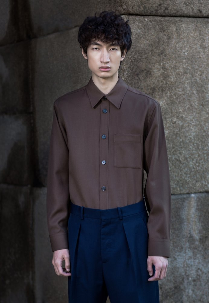WOOL POCKET SHIRT(MOCHA)