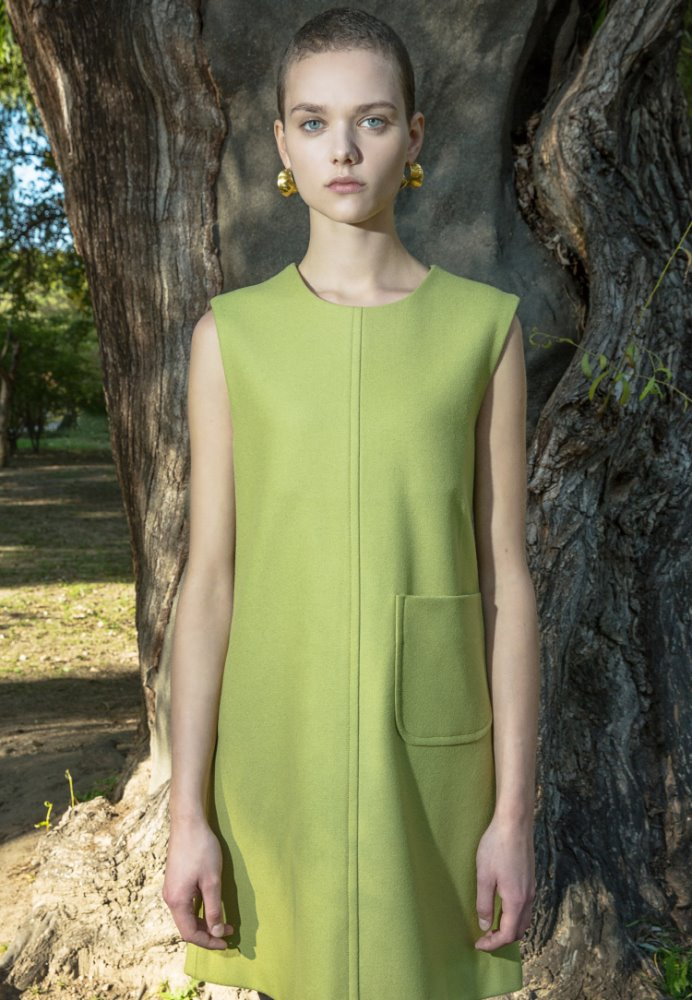 WOOL POCKET DRESS(LIME GREEN)