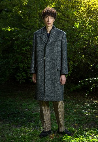 WOOL HERRINGBONE COAT(BLACK)