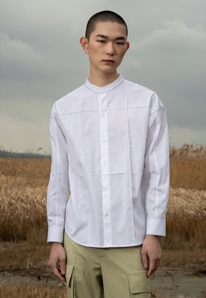 OVERSTITCH PANELED SHIRT(WHITE)