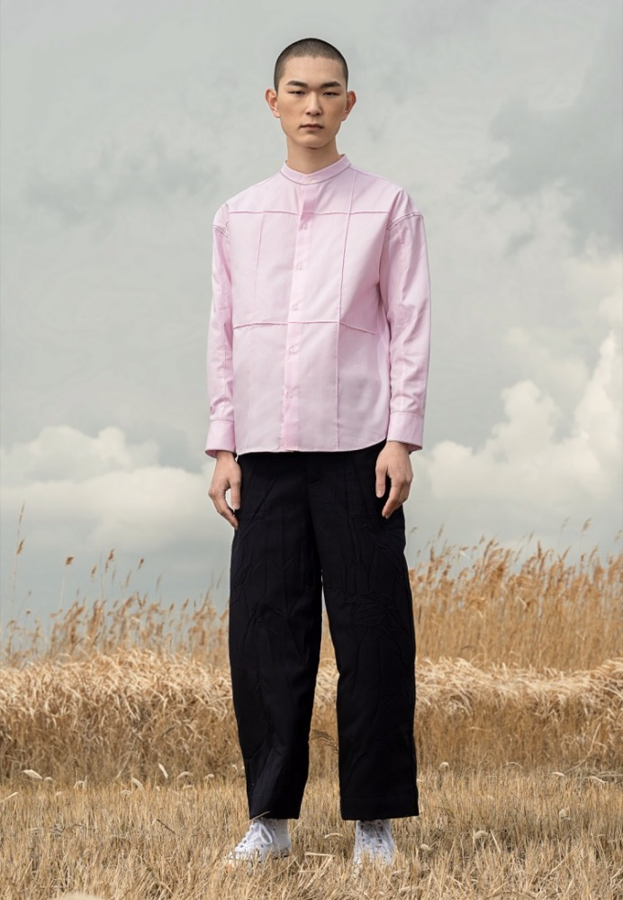 OVERSTITCH PANELED SHIRT(PINK)