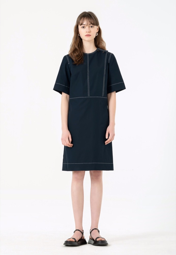 [5th RESTOCK] STITCHED SHIFT DRESS(NAVY)