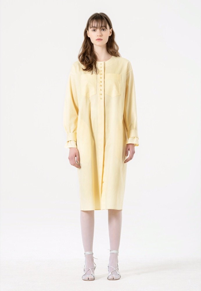 LONG SLEEVED SHIRT DRESS(YELLOW)