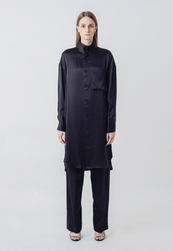SILK-BLEND LONG SHIRT