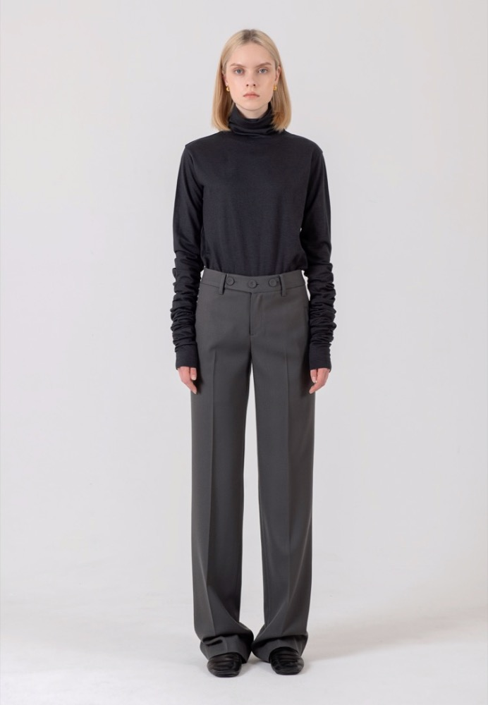 STRAIGHT WOOL TROUSERS(KHAKI GREY)