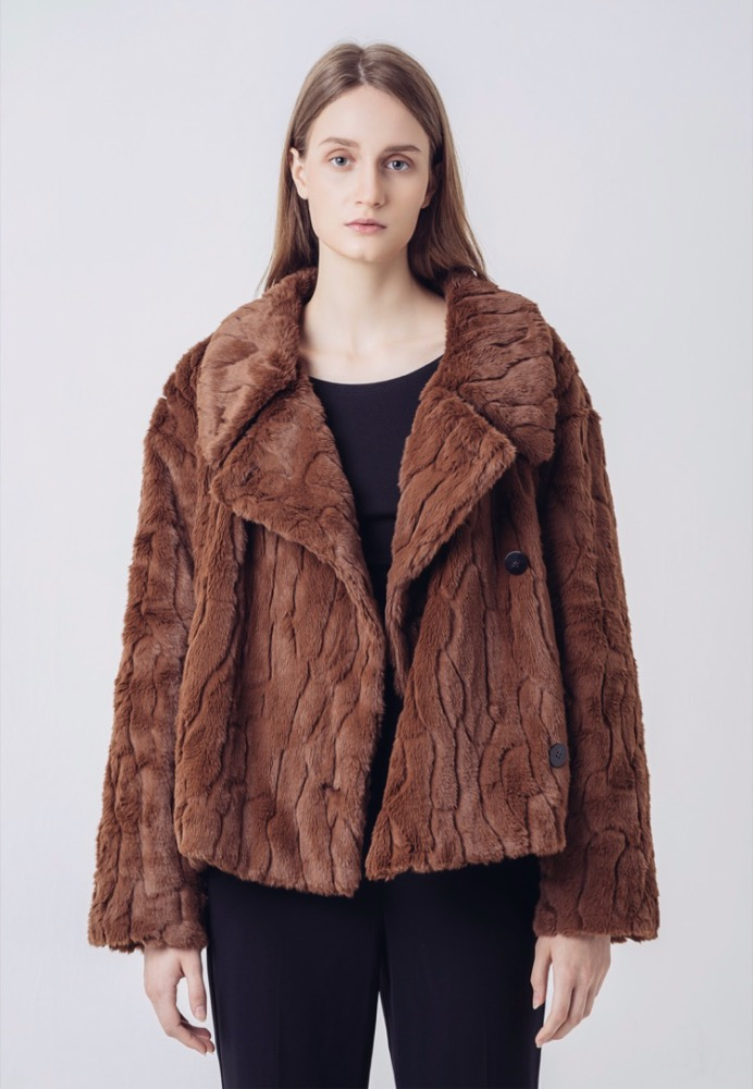 QUILTED-DOWN FAUX FUR JACKET(BROWN)
