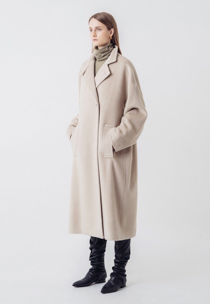 SILK-CASHMERE LONG COAT(BEIGE)