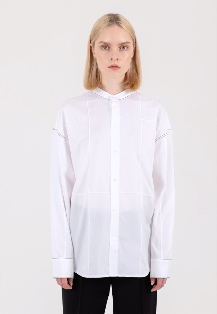 [RESTOCK] OVERSTITCH PANELED SHIRT(WHITE)
