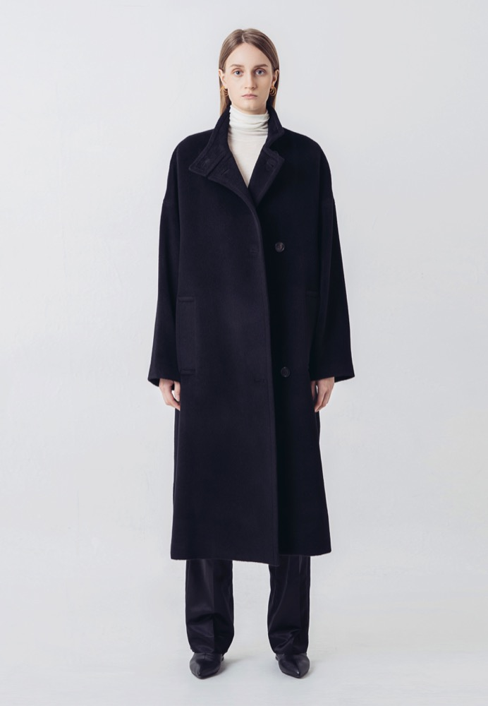 SILK-CASHMERE LONG COAT(BLACK)