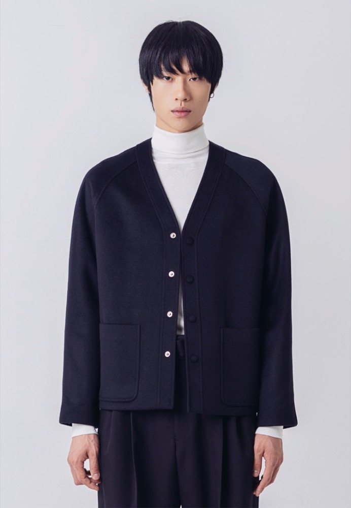 [RESTOCK] CASHMERE V-NECK JACKET(DARK NAVY)