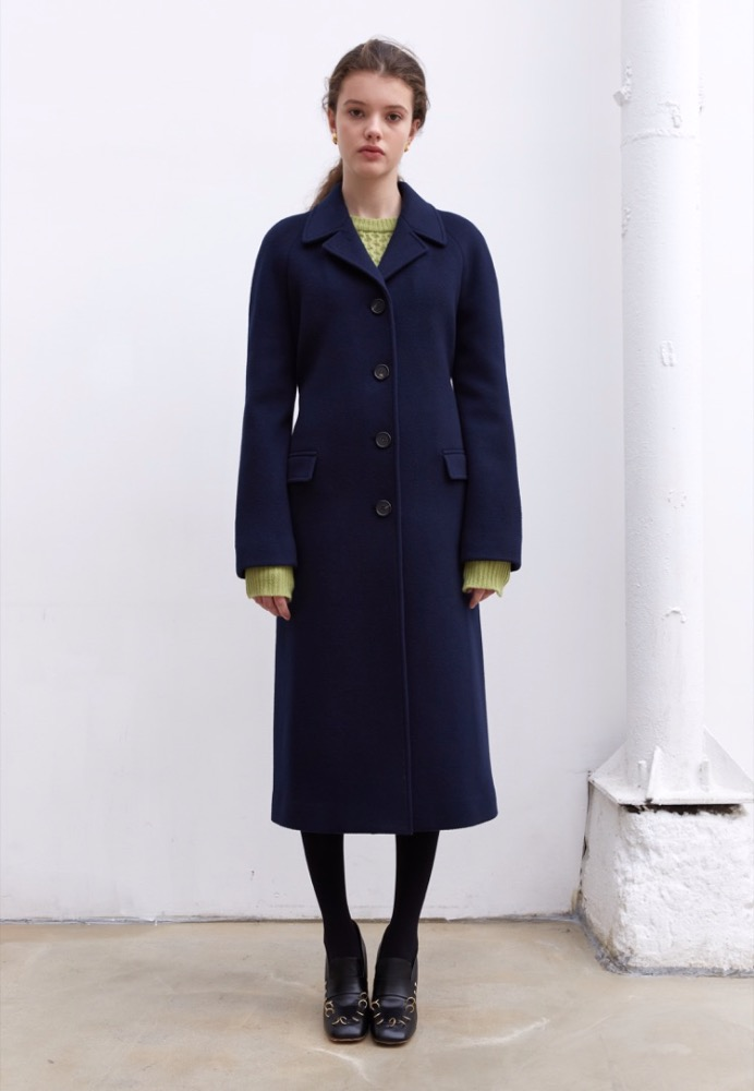 CASHMERE-BLEND BELTED COAT(NAVY)