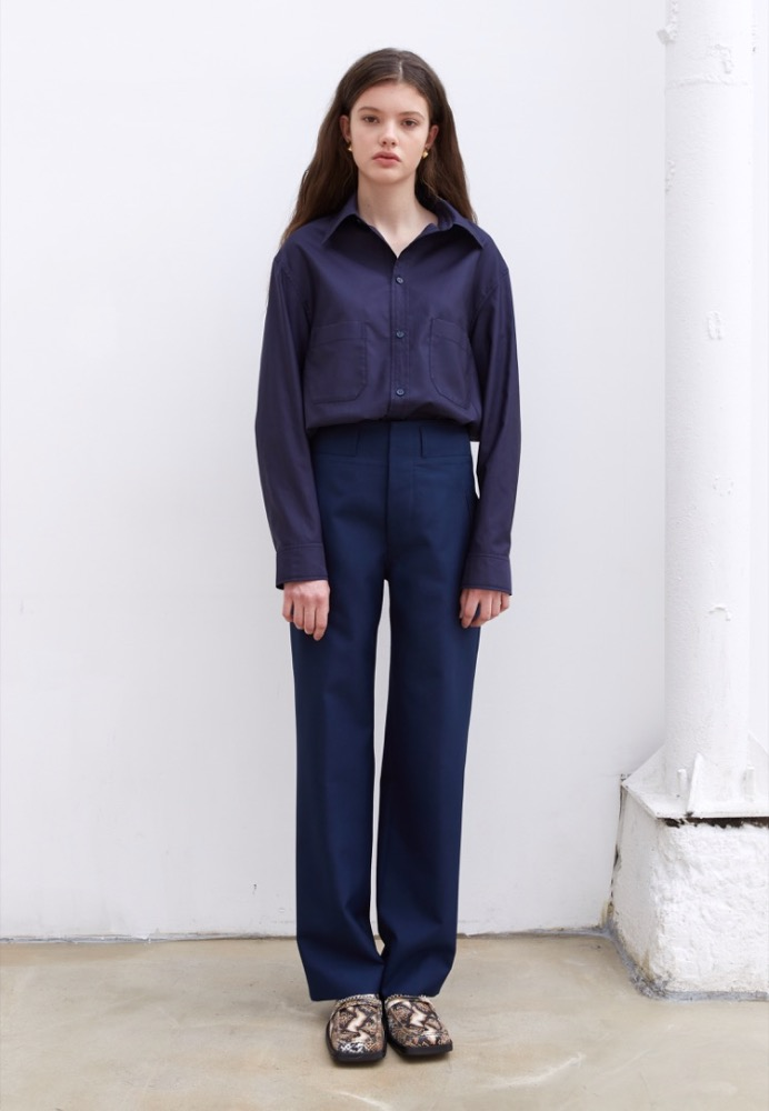 [ORDER-MADE] WOOL HIGH-WAISTED PANTS(LIGHT NAVY)