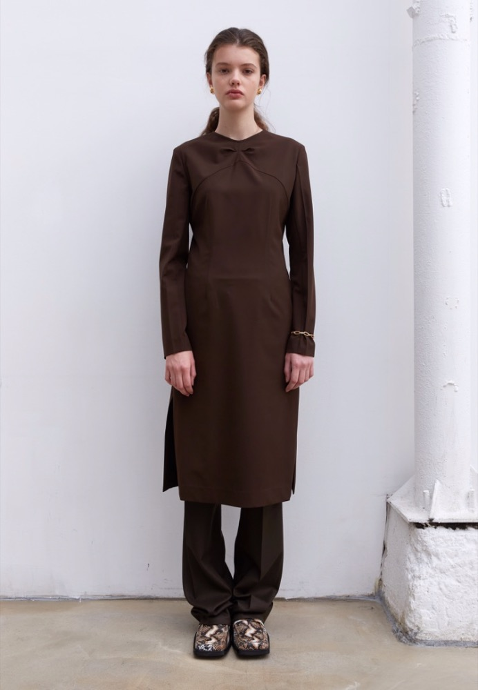 SLIT-SKIRT LONG DRESS(BROWN) FABRIC FROM ITALY