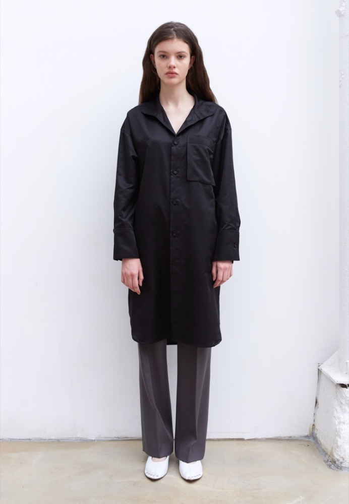 SILK-BLEND LONG SHIRT(BLACK)