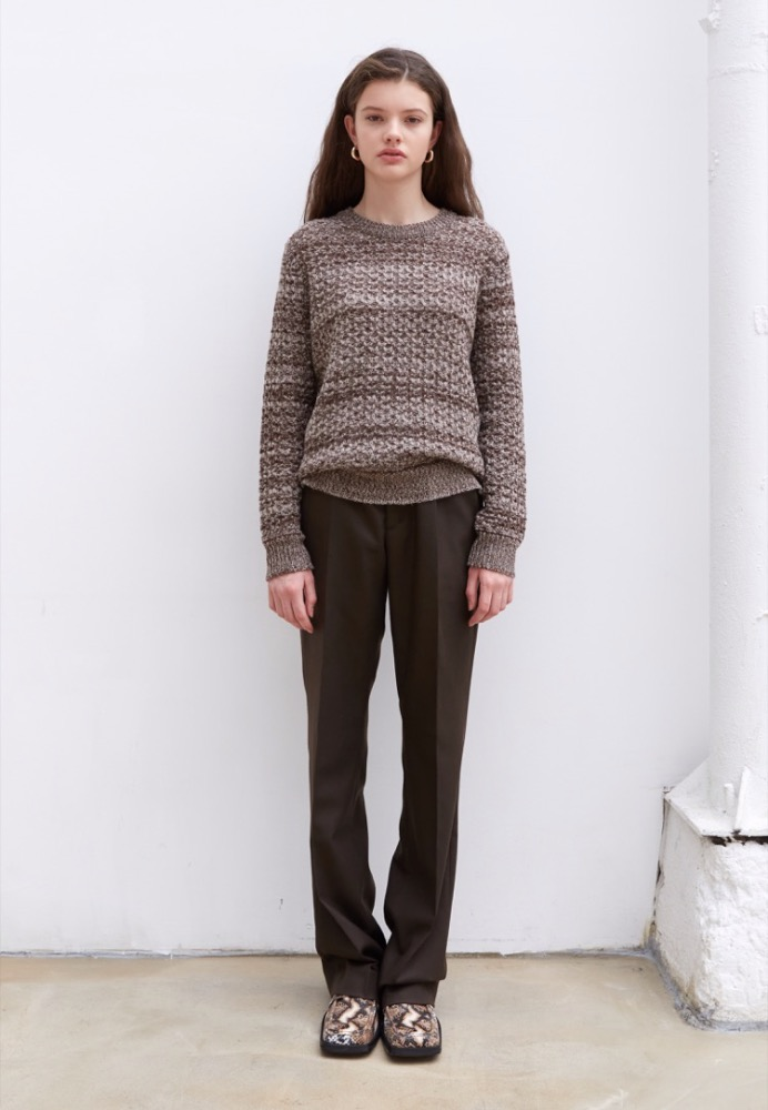 CASHMERE-BLEND SWEATER(BROWN)
