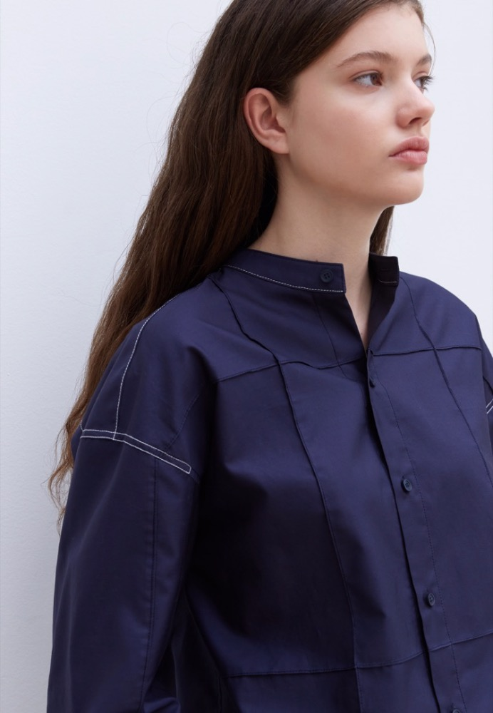 OVERSTITCH PANELED SHIRT(NAVY)