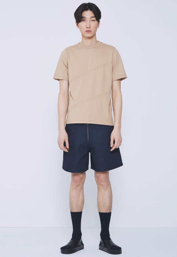 STITCH STRIPE T-SHIRTS(BEIGE)