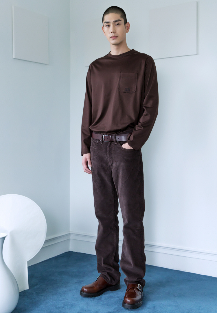 SILKET LONG SLEEVE TEE(BROWN)