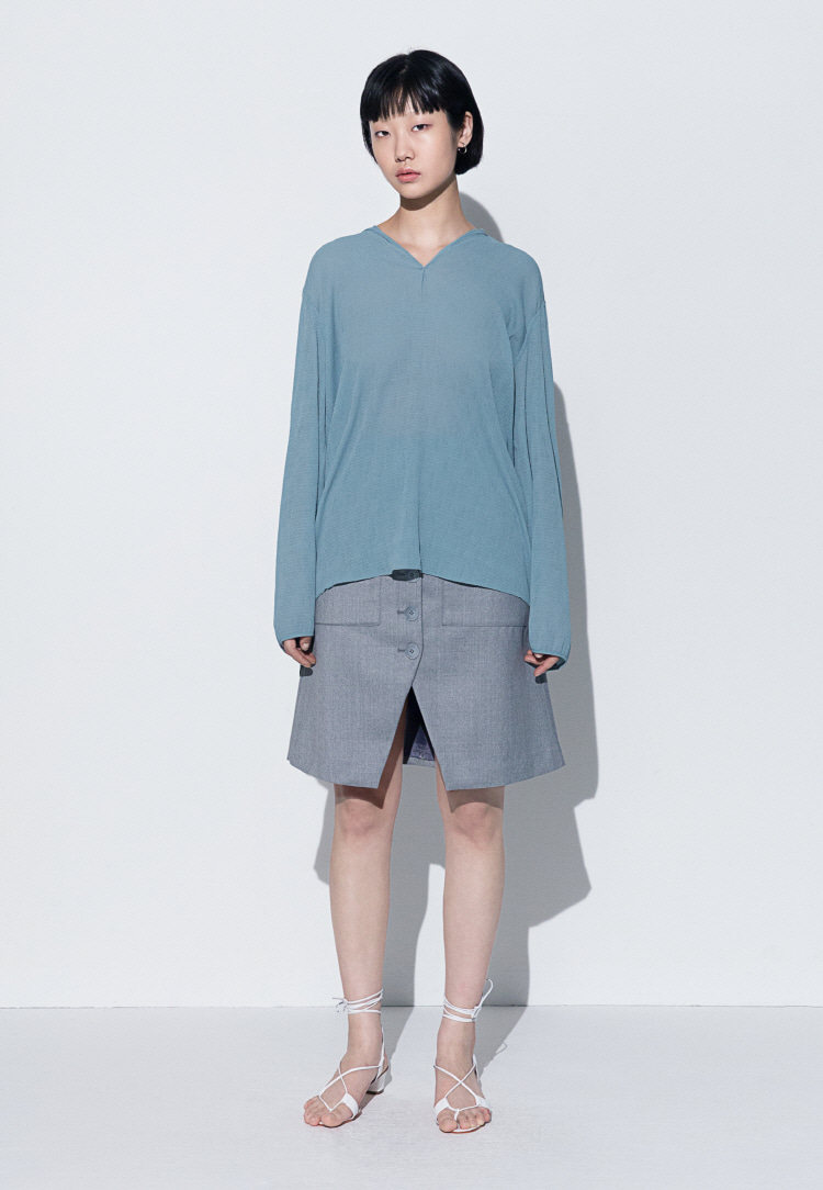 V-NECK CHIFFON BLOUSE(MINT GREEN)