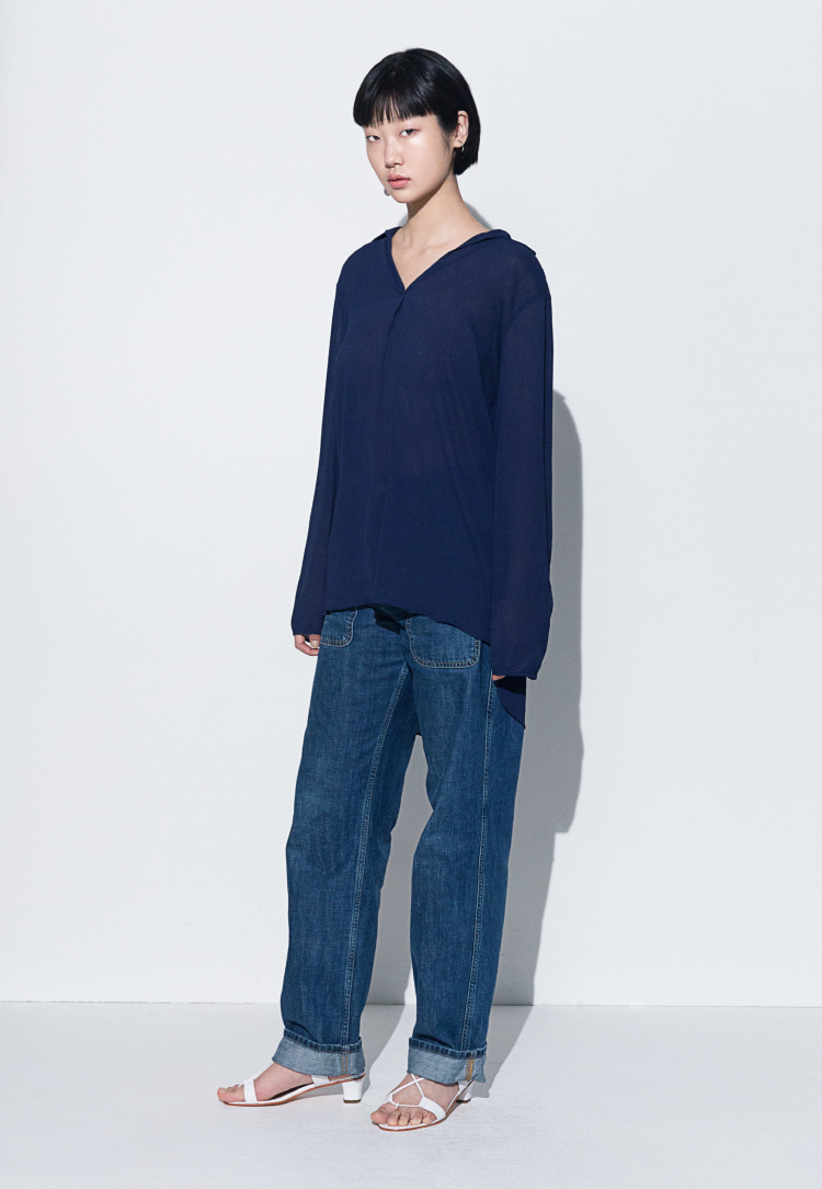 V-NECK CHIFFON BLOUSE(NAVY)