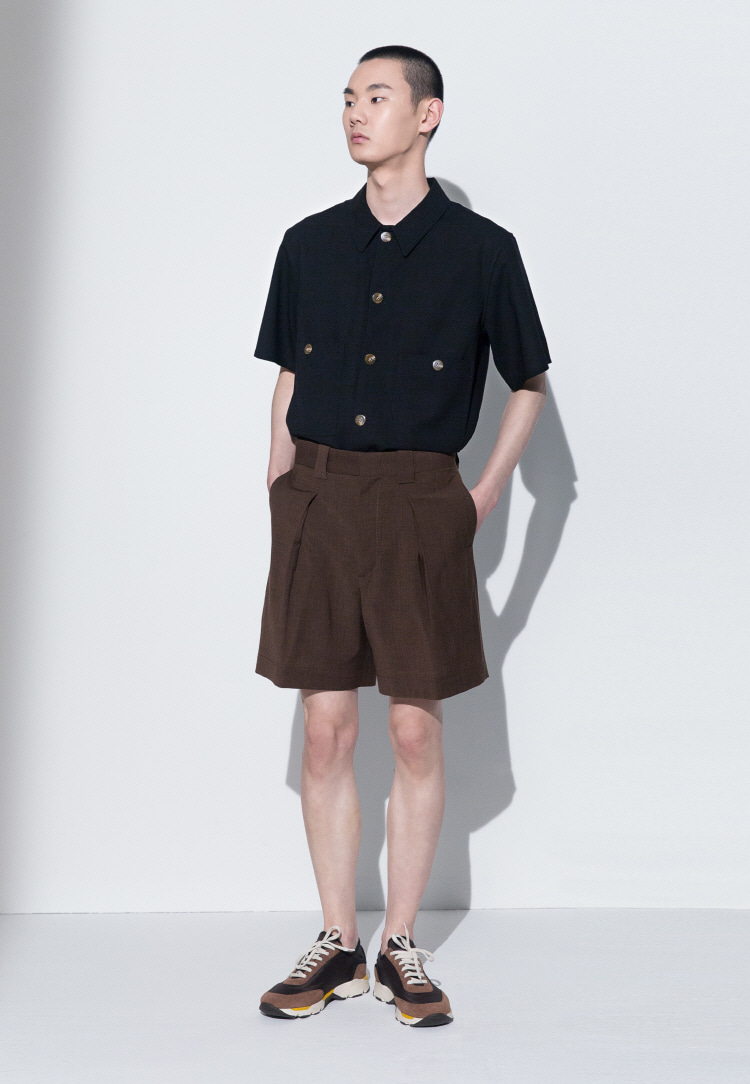 PATCH-POCKET SHORT SLEEVED SHIRT(BLACK)