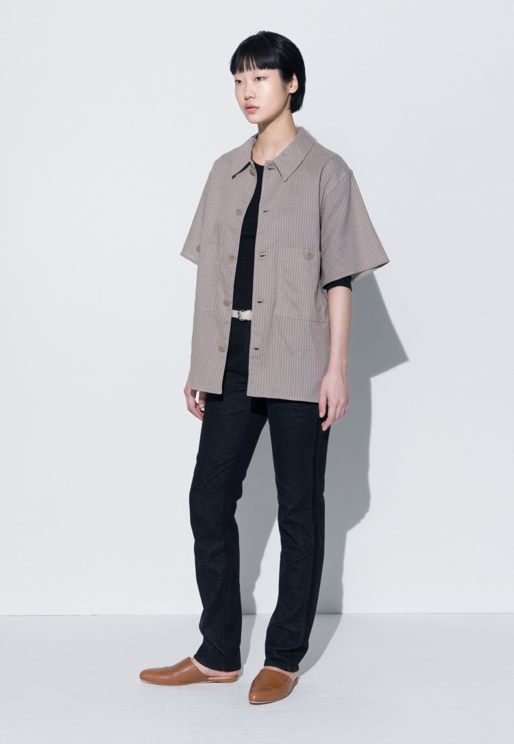 PATCH-POCKET SHORT SLEEVED SHIRT(STRIPE)