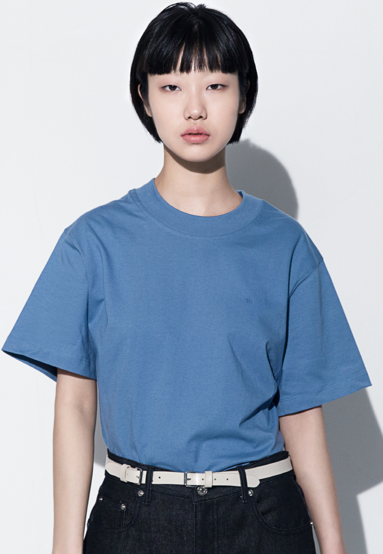 111 EMBROIDERED OVERSIZED T-SHIRT(SKY BLUE)