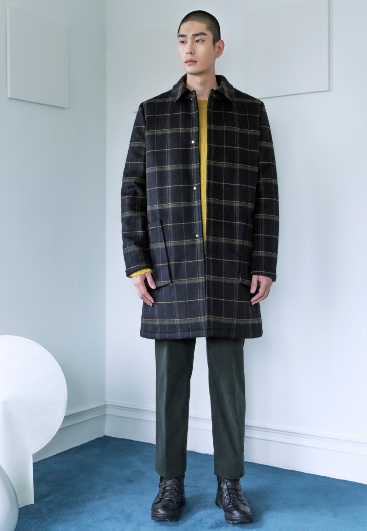 TARTAN CHECK PADDED COAT