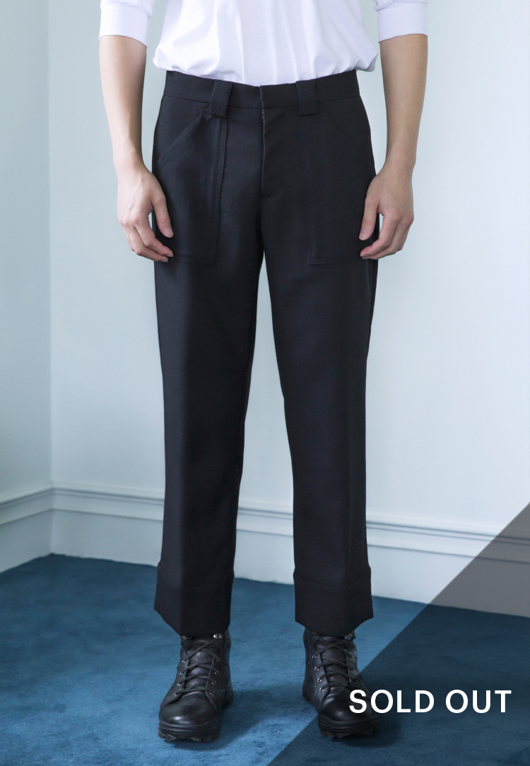 WOOL CUFFS PANTS(BLACK)