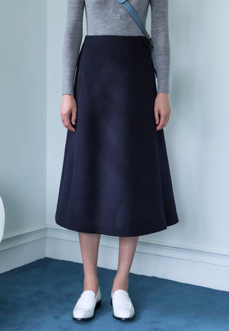 WOOL WRAPED SKIRT(NAVY)